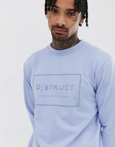 Свитер с круглым вырезом и логотипом D-Struct - Синий