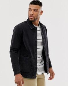 Выбеленная черная джинсовая куртка ASOS DESIGN - Черный