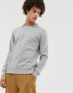 Серый меланжевый свитшот с воротником поло ASOS DESIGN - Серый