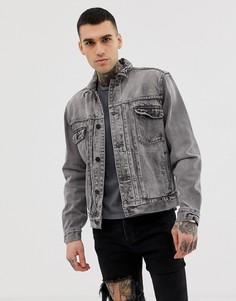 Выбеленная черная джинсовая куртка AllSaints - Черный