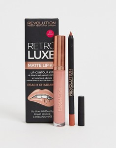 Карандаш для губ и помада Revolution Retro Luxe Kits Matte Peach Charming - Оранжевый
