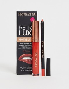 Карандаш для губ и помада Revolution Retro Luxe Kits Matte Regal - Коричневый