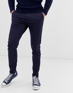 Строгие брюки слим в тонкую полоску Only & Sons - Темно-синий