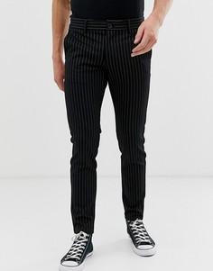 Строгие брюки слим в тонкую полоску Only & Sons - Черный