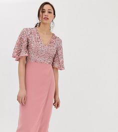 Платье-футляр миди с отделкой пайетками и рукавами клеш Maya Tall - Розовый