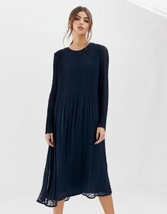 Жаккардовое платье плиссе Y.A.S - Черный