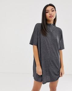 Меланжевое платье мини А-силуэта с металлической молнией ASOS DESIGN - Серый
