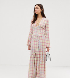 Чайное платье макси в клетку с пуговицами Glamorous Tall - Белый