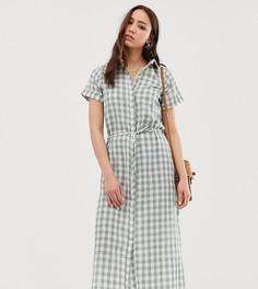 Платье-рубашка в клетку с поясом Glamorous Tall - Зеленый