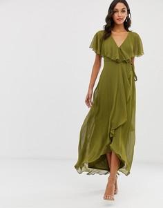 Платье миди с кейпом ASOS DESIGN - Зеленый