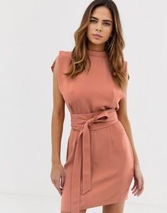 Платье мини с разрезами на рукавах и поясом оби ASOS DESIGN - Красный