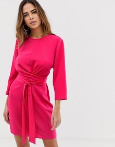 Платье мини с запахом и завязкой ASOS DESIGN - Розовый