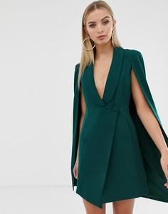 Зеленое приталенное платье мини с кейпом в стиле смокинга Lavish Alice - Зеленый