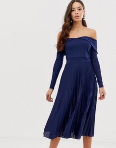 Плиссированное платье миди со спущенными плечами ASOS DESIGN - Темно-синий