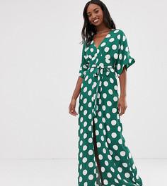 Платье макси в горошек с рукавами-кимоно и поясом Glamorous Tall - Зеленый