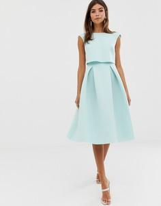 Платье миди для выпускного с укороченным топом ASOS DESIGN - Зеленый