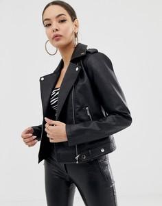Черная полиуретановая байкерская куртка Morgan - Черный