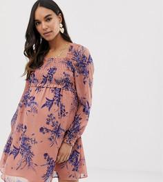 Короткое приталенное платье с квадратным вырезом и сборками ASOS DESIGN Maternity - Мульти