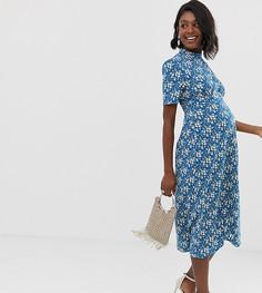 Чайное платье миди на пуговицах с цветочным принтом ASOS DESIGN Maternity - Мульти