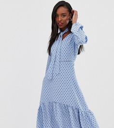 Платье миди в горошек с завязкой на шее Glamorous Tall - Синий