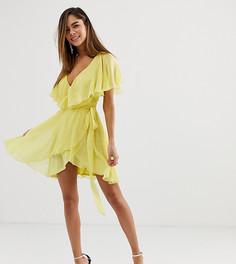 Платье мини с асимметричным краем и накидкой ASOS DESIGN - Желтый