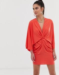 Атласное платье мини с запахом в стиле кимоно Flounce London - Коричневый