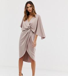 Атласное платье миди в стиле кимоно с узлом спереди и асимметричными рукавами ASOS DESIGN - Розовый