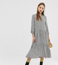 Платье-рубашка миди в клеточку Moss Copenhagen - Кремовый