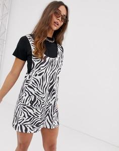 Платье мини с зебровым принтом ASOS DESIGN - Мульти