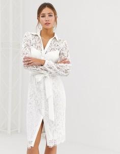 Белое кружевное платье-рубашка с завязкой на талии Paper Dolls - Белый