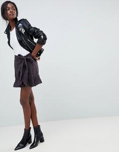 Юбка с оборками и завязкой Blank NYC - Черный