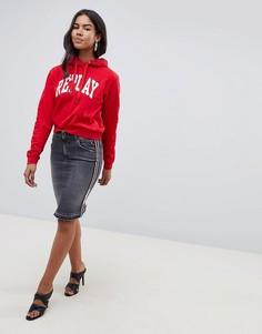 Джинсовая юбка с декоративным кантом Replay - Черный