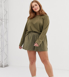 Трикотажные пижамные шорты ASOS DESIGN Curve mix & match - Зеленый