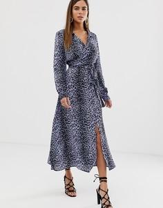 Платье миди с запахом и леопардовым принтом ASOS DESIGN - Мульти