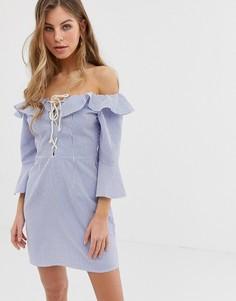Платье мини в полоску с открытыми плечами и расклешенными рукавами ASOS DESIGN - Мульти