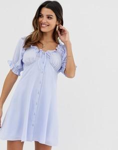 Свободное платье мини на пуговицах с вырезом сердечком ASOS DESIGN - Синий