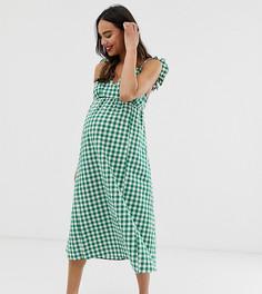 Платье миди в клетку на бретелях Glamorous Bloom - Зеленый
