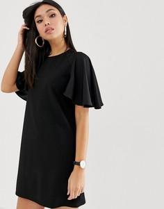 Платье мини с ткаными рукавами ASOS DESIGN - Черный