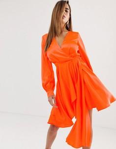 Атласное платье мини ASOS DESIGN - Оранжевый