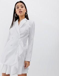 Белое платье-блейзер мини с оборкой PrettyLittleThing - Белый