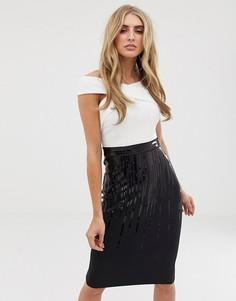 Монохромное платье 2 в 1 с перекрестной отделкой и пайетками Lipsy - Мульти