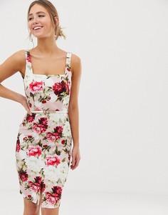 Платье-футляр миди с квадратным вырезом и цветочным принтом Paper Dolls - Мульти