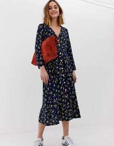 Платье миди на пуговицах с цветочным принтом Leon & Harper - Темно-синий