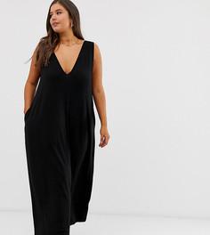 Трапециевидное платье макси с глубоким вырезом ASOS DESIGN Curve - Черный