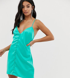 Зеленое атласное платье-комбинация на пуговицах Missguided Petite - Зеленый
