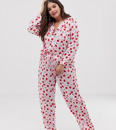 Комбинируемые пижамные брюки из 100% модала с принтом вишен ASOS DESIGN Curve - Мульти