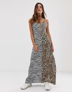 Платье-комбинация макси со звериным принтом Boohoo - Мульти