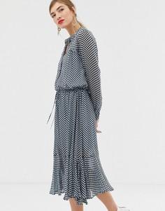 Платье макси с принтом в шахматную клетку Custommade Cilje - Синий