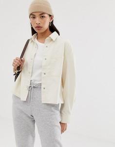 Короткая джинсовая куртка-рубашка Weekday - Кремовый
