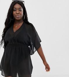 Черная шифоновая пляжная накидка с рукавами-кимоно ASOS DESIGN Curve - Черный